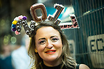 "© Joel Goodman - 07973 332324 . 01/01/2017 . Manchester , UK . A woman wearing "" 2017 "" headwear . People on a night out in Manchester City Centre , after midnight on January 1st 2017 . Photo credit : Joel Goodman"