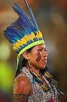 Palmas é a sede do primeiro evento do tipo com âmbito mundial; que ocorre de 23 a 31 de outubro<br /> Ao todo, 24 etnias nacionais e povos de 23 países representarão os indígenas de todo o mundo, . Todas as etnias foram selecionadas pelo Comitê Intertribal Memória e Ciência Indígena (ITC), que vem usando como critério, desde as edições nacionais, a conservação dos costumes de cada etnia, o idioma, as crenças, os ritos, as pinturas corporais, a música e os esportes tradicionais dos povos.<br /> Palmas, Tocantins, Brasil.<br /> Foto Marcello Lourença/Acervo h<br /> out/2015