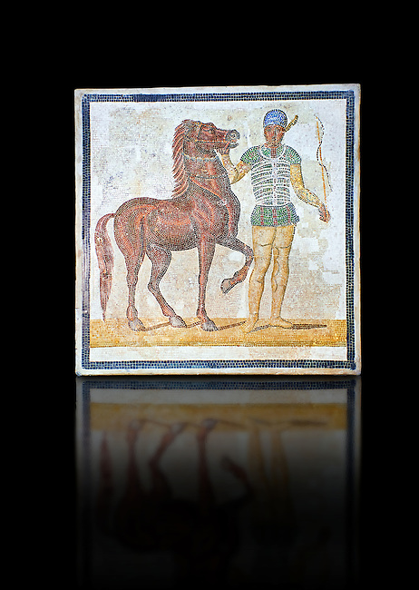Roman geometric floor mosaic depicting Green Faction Charioteer  and their horses from the Circus  from  a room of a villa  in the locality Baccano near the Via Cassia, Rome. Beginning of the 3rd century AD. National Roman Museum, Rome, Italy