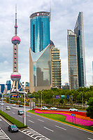 China, Shanghai.  Oriental Pearl Television Tower, Pudong District.