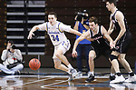 SIOUX FALLS, SD - MARCH 6: Alex Arians #34 of the South Dakota State Jackrabbits and Nick Ferrarini #1 of the Nebraska-Omaha Mavericks chase a loose ball during the Summit League Basketball Tournament at the Sanford Pentagon in Sioux Falls, SD. (Photo by Richard Carlson/Inertia)