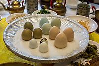 Yangzhou, Jiangsu, China.  Breakfast at Ye Chun Tea House.  Assorted Eggs:  pigeon, quail, chicken, wild chicken.