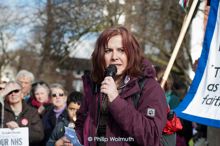 Maggie Palmer,.Mental Health Worker & UNITE Rep.  Health workers, patients, local residents and trade unions take part in a Save Lewisham Hospital Campaign rally outside the hospital to protest at proposed closure of A&E and maternity services.