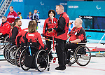 Sochi, RUSSIA - Mar 7 2014 -  Joe Rea, Head Coach of Canada's Wheelchair Curling Team speaks to the team during training before the Sochi 2014 Paralympic Winter Games in Sochi, Russia.  (Photo: Matthew Murnaghan/Canadian Paralympic Committee)