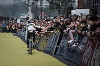 World Champion Alejandro Valverde (ESP/Movistar) returning from the pre race team presentation<br /> <br /> <br /> 103rd Ronde van Vlaanderen 2019<br /> One day race from Antwerp to Oudenaarde (BEL/270km)<br /> <br /> ©kramon