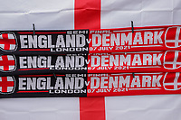 7th July 2021, Wembley Stadium, London, England; 2020 European Football Championships (delayed)  semi-final, England versus Denmark;  Scarves and flags on a Merchandise stand. England play Denmark