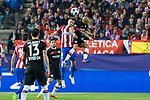 Saul Iniguez of Atletico de Madrid competes for the ball with Javier Hernandez Chicharito of Bayer 04 Leverkusen during the match of Uefa Champions League between Atletico de Madrid and Bayer Leverkusen at Vicente Calderon Stadium  in Madrid, Spain. March 15, 2017. (ALTERPHOTOS / Rodrigo Jimenez)