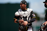 Pittsburgh Pirates catcher Michael Perez (5) during a Major League Spring Training game against the Minnesota Twins on March 16, 2021 at Hammond Stadium in Fort Myers, Florida.  (Mike Janes/Four Seam Images)