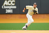 Wake Forest Demon Deacons shortstop Pat Blair #11 tracks a ground ball up the middle against the Virginia Tech Hokies at Wake Forest Baseball Park on April 21, 2012 in Winston-Salem, North Carolina.  The Demon Deacons defeated the Hokies 8-6.  (Brian Westerholt/Four Seam Images)