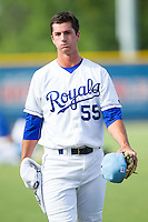 Burlington Royals starting pitcher Foster Griffin (55) walks in from the bullpen prior to the game against thega\ at Burlington Athletic Park on June 29, 2014 in Burlington, North Carolina.  The Royals defeated the Astros 11-0. (Brian Westerholt/Four Seam Images)