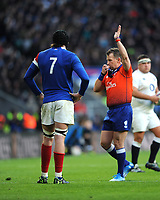 Referee Nigel Owens of Wales awards a penalty during the Guinness Six Nations match between England and France at Twickenham Stadium on Sunday 10th February 2019 (Photo by Rob Munro/Stewart Communications)