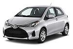 2015 Toyota Yaris LE 3-Door Liftback AT 3 Door Hatchback Angular Front stock photos of front three quarter view