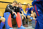 GER - Luebeck, Germany, February 06: Players of Mannheimer HC look dejected after the 1. Bundesliga Herren indoor hockey semi final match at the Final 4 between Uhlenhorst Muelheim (white) and Mannheimer HC (blue) on February 6, 2016 at Hansehalle Luebeck in Luebeck, Germany. Final score 7-5 (HT 2-3). (Photo by Dirk Markgraf / www.265-images.com) *** Local caption *** Lukas Stumpf #4 of Mannheimer HC