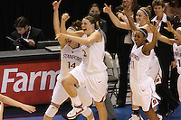 10 March 2008: Stanford Cardinal (L-R) Kayla Pedersen, Jayne Appel, Candice Wiggins, JJ Hones, and Rosalyn Gold-Onwude during Stanford's 56-35 win against the California Golden Bears in the 2008 State Farm Pac-10 Women's Basketball championship game at HP Pavilion in San Jose, CA.