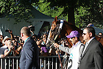 June 7, 2014: California Chrome is greeted by enthusiastic fans as he enters the paddock before the Belmont Stakes.Tonalist, trained by Christophe Clement and ridden by Joel Rosario wins the 146th running of the Grade I Belmont Stakes at Belmont Park , Elmont, NY.   ©Joan Fairman Kanes/ESW/CSM
