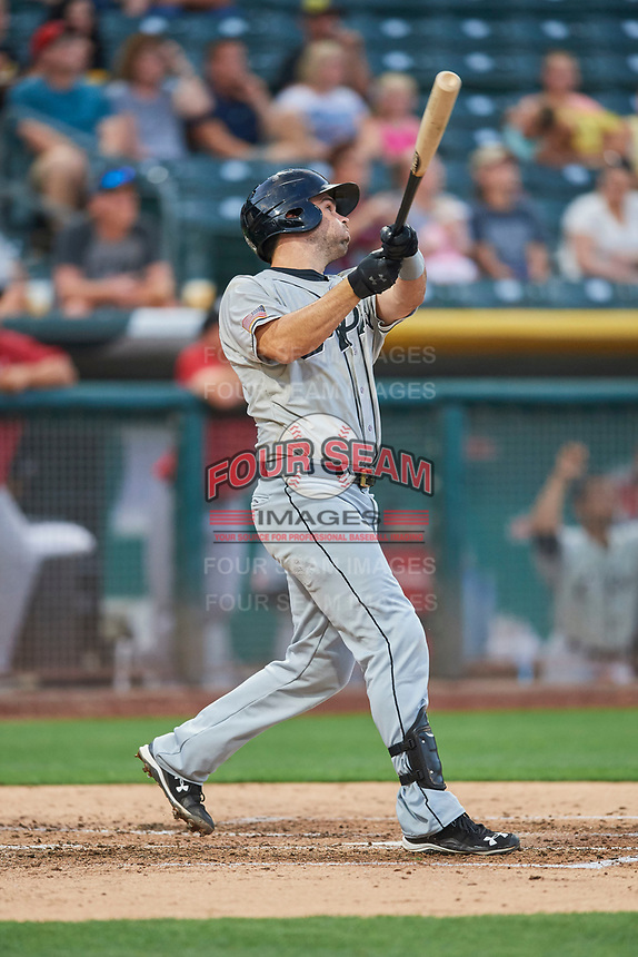 Brett Nicholas (15) of the El Paso Chihuahuas bats against the Salt Lake Bees at Smith's Ballpark on August 14, 2018 in Salt Lake City, Utah. El Paso defeated Salt Lake 6-3. (Stephen Smith/Four Seam Images)