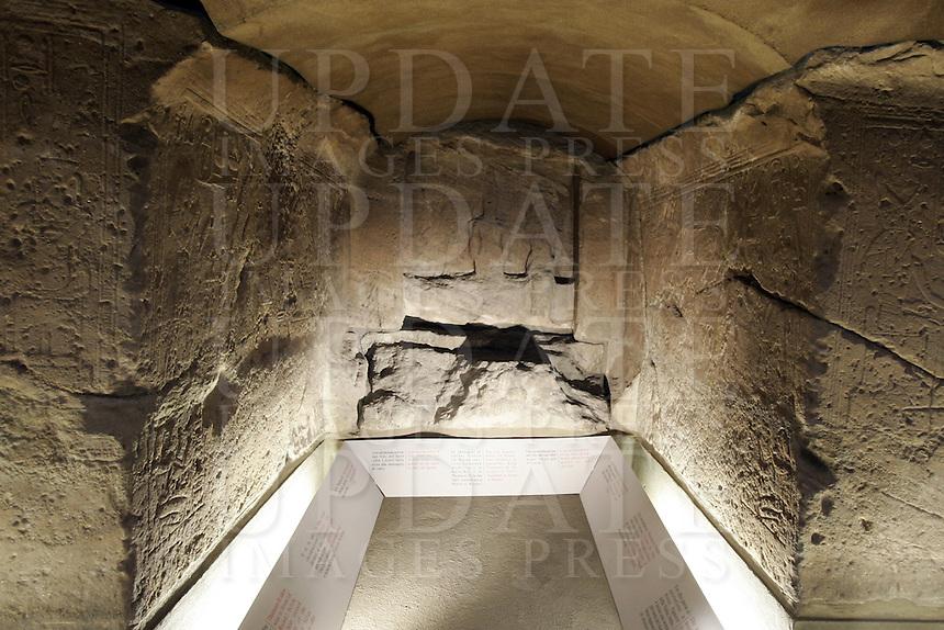 L'interno del Tempio rupestre di Ellesija, all'interno del Museo Egizio di Torino.<br /> Interior of the rocky Temple of Ellesija, in the Egyptian Museum of Turin.<br /> UPDATE IMAGES PRESS/Riccardo De Luca