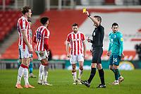2nd January 2021; Bet365 Stadium, Stoke, Staffordshire, England; English Football League Championship Football, Stoke City versus Bournemouth; Harry Souttar of Stoke City receives a yellow card