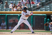 Ben Revere (1) of the Salt Lake Bees bats against the El Paso Chihuahuas at Smith's Ballpark on July 8, 2018 in Salt Lake City, Utah. El Paso defeated Salt Lake 15-6. (Stephen Smith/Four Seam Images)