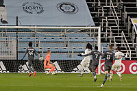 ST PAUL, MN - OCTOBER 28: Lalas Abubakar #6 of Colorado Rapids scores an own goal during a game between Colorado Rapids and Minnesota United FC at Allianz Field on October 28, 2020 in St Paul, Minnesota.