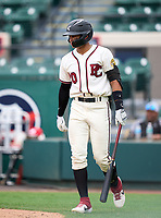 Pembroke Pines Charter Jaguars outfielder Franklin Pinales, Jr. (20) during the 42nd Annual FACA All-Star Baseball Classic on June 5, 2021 at Joker Marchant Stadium in Lakeland, Florida.  (Mike Janes/Four Seam Images)