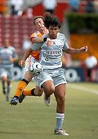 FC Dallas midfielder Juan Toja (8) shields the ball from Houston Dynamo midfielder Richard Mulrooney (30).  Houston Dynamo beat FC Dallas 2-1 at Robertson Stadium in Houston, TX on June 3, 2007.