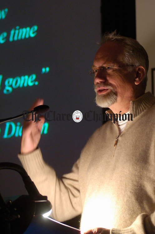 Dan Wieden of Chief Creative Officer with the Wieden/Kennedy/Portland, best known in recent times for their Nike adverts, pictured speaking at the Shark Awards in Ennis. Photograph by John Kelly.