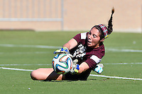 Texas A&M goalkeeper Taylor Saucier (00) warms up before NCAA soccer game, Sunday, October 26, 2014 in College Station, Tex. South Carolina draw 2-2 against Texas A&M in double overtime. (Mo Khursheed/TFV Media via AP Images)