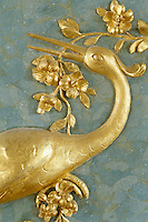 A detail of a heron gathering fronds for its nest by sculptor Johann Michael Graff forms part of the decoration in the throne room