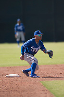 Kansas City Royals second baseman Ricky Aracena (2) prepares to catch a ball on a stolen base attempt by Jalen Miller (10) during an Instructional League game against the San Francisco Giants at the Giants Training Complex on October 17, 2017 in Scottsdale, Arizona. (Zachary Lucy/Four Seam Images)