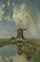A Windmill on a Polder Waterway, Known as 'In the Month of July', Paul Joseph Constantin Gabriël, c. 1889