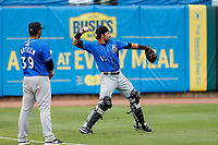 Biloxi Shuckers catcher Payton Henry (15) warms up prior to the game against the Tennessee Smokies on May 18, 2021, at Smokies Stadium in Kodak, Tennessee. (Danny Parker/Four Seam Images)