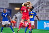 ORLANDO, FL - FEBRUARY 24: Shelina Zadorsky #4 of the CANWNT battles for the header during a game between Brazil and Canada at Exploria Stadium on February 24, 2021 in Orlando, Florida.