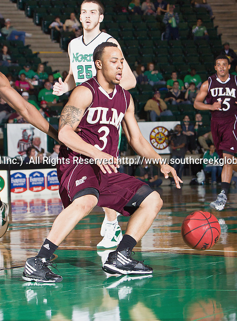 Louisiana Monroe Warhawks guard Marcelis Hansberry (3) in action during the game between the Louisiana Monroe Warhawks and the University of North Texas Mean Green at the North Texas Coliseum,the Super Pit, in Denton, Texas. UNT defeats ULM 86 to 51...