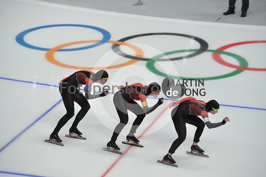 OLYMPIC GAMES: PYEONGCHANG: 19-02-2018, Gangneung Oval, Long Track, Team Pursuit Ladies, Team Canada, ©photo Martin de Jong