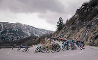 yellow jersey descending in the pack<br /> <br /> 76th Paris-Nice 2018<br /> stage 6: Sisteron > Vence (198km)