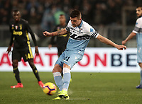 Football, Serie A: S.S. Lazio - Juventus, Olympic stadium, Rome, January 27, 2019. <br /> Lazio's Sergej Milinkovic-Savic (c) in action during the Italian Serie A football match between S.S. Lazio and Juventus at Rome's Olympic stadium, Rome on January 27, 2019.<br /> UPDATE IMAGES PRESS/Isabella Bonotto