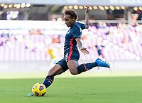 ORLANDO, FL - FEBRUARY 21: Crystal Dunn #19 of the USWNT crosses the ball during a game between Brazil and USWNT at Exploria Stadium on February 21, 2021 in Orlando, Florida.