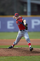 NJIT Highlanders starting pitcher Johnny Malatesta (20) in action against the High Point Panthers at Williard Stadium on February 18, 2017 in High Point, North Carolina. The Panthers defeated the Highlanders 11-0 in game one of a double-header. (Brian Westerholt/Four Seam Images)