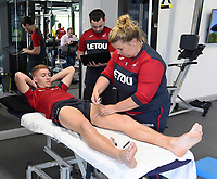 Swansea City's Jay Fulton in the gym on his first day back for the new season.