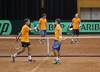11-sept.-2013,Netherlands, Groningen,  Martini Plaza, Tennis, DavisCup Netherlands-Austria, Dutch team practice doubles,   <br /> Photo: Henk Koster