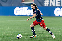 FOXBOROUGH, MA - OCTOBER 3: Tommy McNamara #26 of New England Revolution dribbles during a game between Nashville SC and New England Revolution at Gillette Stadium on October 3, 2020 in Foxborough, Massachusetts.