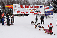 Sunday February 28, 2010   Emily Krol crosses the finish line on Willow lake to finish in 9th place during the 2010 Junior Iditarod . Willow , AK