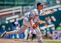18 July 2018: Trenton Thunder pitcher James Reeves on the mound against the New Hampshire Fisher Cats at Northeast Delta Dental Stadium in Manchester, NH. The Thunder defeated the Fisher Cats 3-2 concluding a previous game started April 29. Mandatory Credit: Ed Wolfstein Photo *** RAW (NEF) Image File Available ***