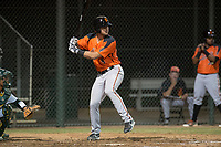 AZL Giants Orange designated hitter Joey Bart (9) at bat during an Arizona League game against the AZL Athletics at Lew Wolff Training Complex on June 25, 2018 in Mesa, Arizona. AZL Giants Orange defeated the AZL Athletics 7-5. (Zachary Lucy/Four Seam Images)