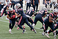27th September 2020, Foxborough, New England, USA;  New England Patriots quarterback Cam Newton (1) hands off to New England Patriots wide receiver Julian Edelman (11) during the game between the New England Patriots and the Las Vegas Raiders