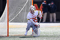 College Park, MD - February 15, 2020: Maryland Terrapins goalie Chris Brandau (35) makes a save during the game between Penn and Maryland at  Capital One Field at Maryland Stadium in College Park, MD.  (Photo by Elliott Brown/Media Images International)
