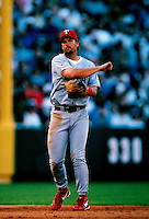 Kevin Elster of the Texas Rangers plays in a baseball game at Edison International Field during the 1998 season in Anaheim, California. (Larry Goren/Four Seam Images)