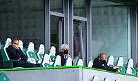 23rd May 2020, Volkswagen Arena, Wolfsburg, Lower Saxony, Germany; Bundesliga football,VfL Wolfsburg versus Borussia Dortmund;  Hans-Joachim Watzke (Dortmund), President Dr. Reinhard Rauball (Dortmund), Carsten Cramer (Director of Marketing  Dortmund) watch from the stands