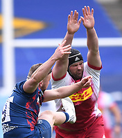 27th March 2021; Ashton Gate Stadium, Bristol, England; Premiership Rugby Union, Bristol Bears versus Harlequins; Andy Uren of Bristol Bears kicks from the base of the ruck under pressure from Matt Symons of Harlequins
